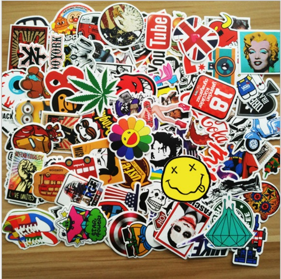 100 Pcs Mixed Cartoon Cool Funny Sticker Toy Stickers Car Styling Bike Motorcycle Phone Laptop Travel Luggage Decals