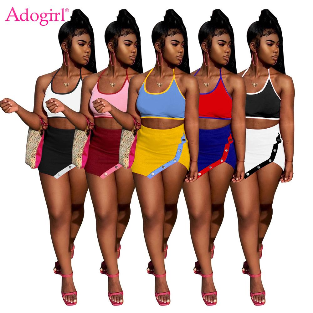 Adogirl Sexy Spaghetti Straps Patchwork Asymmetric 2 Piece Set Straps Casual Halter Backless Crop Top Button Mini Skirt Fashion