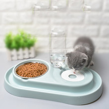 Pet Bowl Automatic Feeder Dog Cat Splash-Proof Drinking Stainless Steel Food Double
