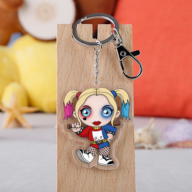 <font><b>Suicide</b></font> Squad Harley Quinn Acrylic Keychain Batman Clown Doule-Side Clear Pendant Keyrings 55mm image