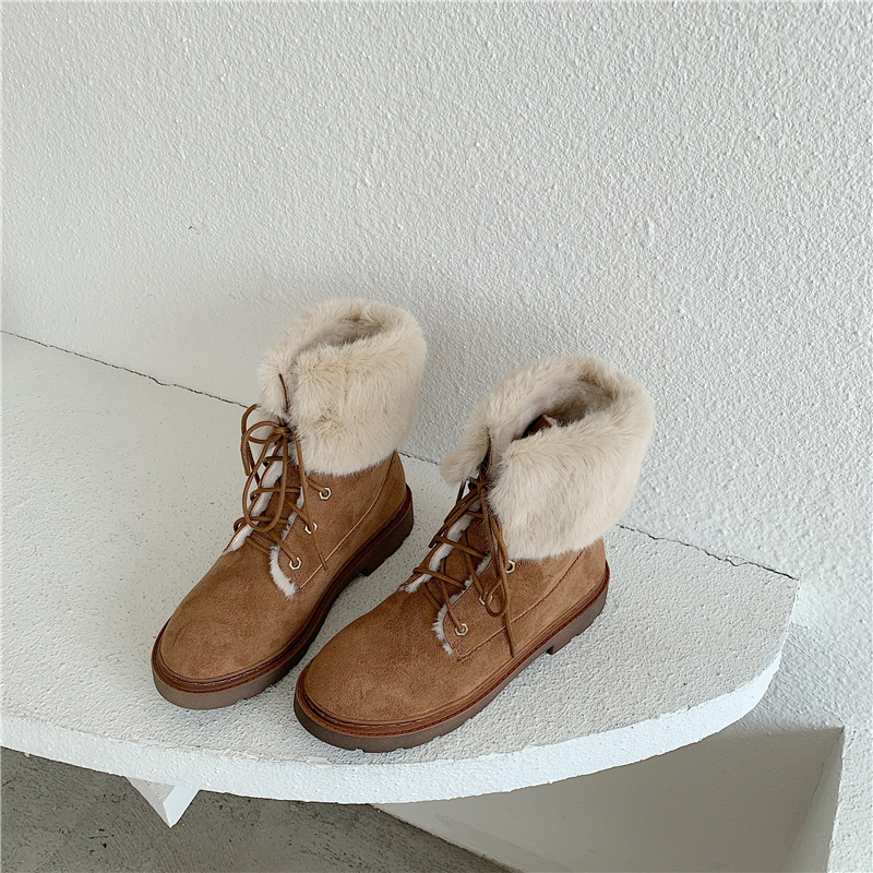 2019 New Women Winter Ankle Boots Round Toe Suede Mane Female Booties Fashion Cross Tied Lace Up British Style Flat Heeled Boots