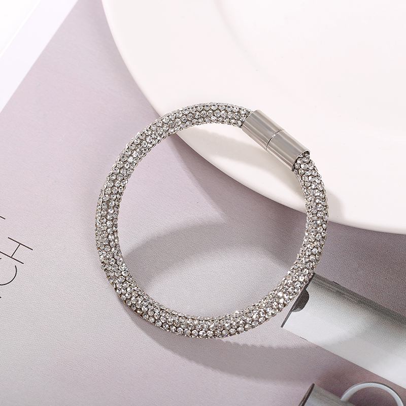 MAIKALE High Quality Bracelets for Women Austrian Crystal Silver Magnet Buckle Fashion Jewelry Shiny Rhinestone For Women Gift in Charm Bracelets from Jewelry Accessories