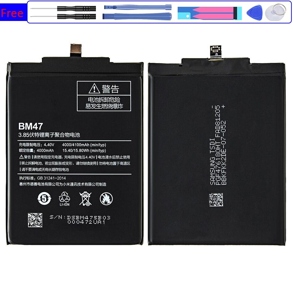 BM47 Сменный аккумулятор для Xiaomi Redmi 3 3s 4x 3pro Hongmi 3 3s 4x Bateria 4100mAh BM 47 BM47 + номер отслеживания