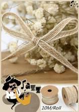 10m/rolo juta serapilheira rolls hessian fita com laço rústico vintage decoração de casamento festa diy artesanato natal presente embalagem webbing