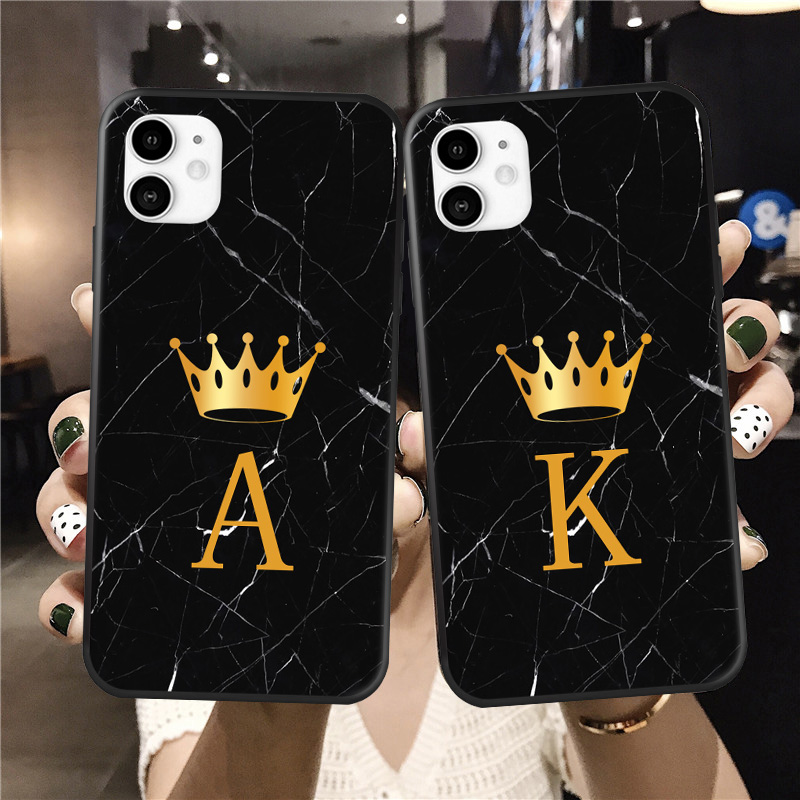 Custom Name Queen Phone Case For Iphone 11 Pro Max Letter Monogram Black Marble Gold Crown Cover For Iphone X XR XS MAX 6 7 8Pus