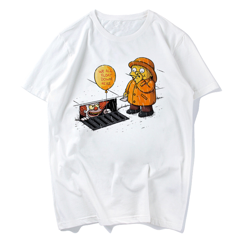 2018 IT Movie T Shirt Men's Stephen King Printed High Quality Clown Tops Tees Fear Halloween Pennywise Custom Male T-shirt Xxxl