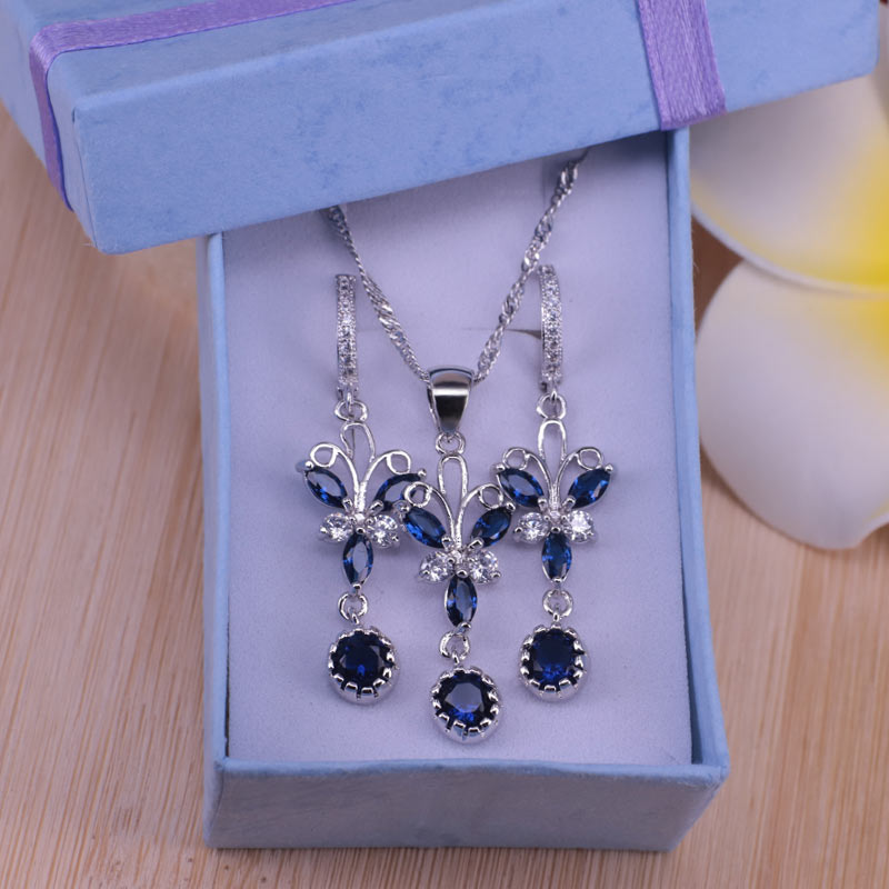 factory price butterfly silver color blue cubic zircon jewelry set earrings necklace set best Christmas gift