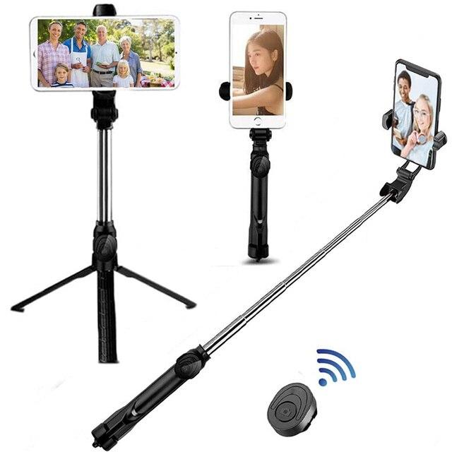 Palo de Selfie inalámbrico con Bluetooth, trípode extensible de mano, Mini trípode plegable con obturador remoto para iPhone y Android