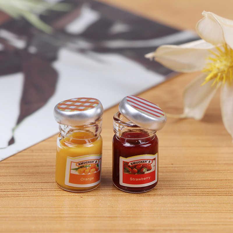 2PCS 1:12 Dollhouse Miniature Food Mini Strawberry Sauce Jam Honey Food EW