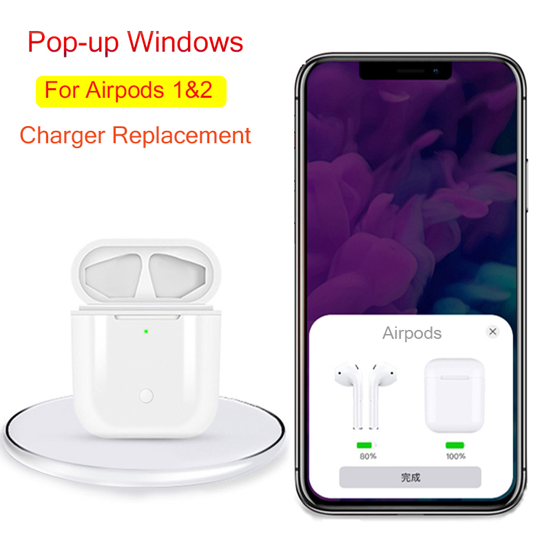 Charging Case For <font><b>Airpods</b></font> Pairing <font><b>Pop</b></font> <font><b>up</b></font> Windows QI Wireless charger box on For <font><b>airPods</b></font> Air Pod 1 2 Replacement charger Case image