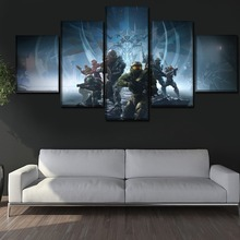 One Set 5 Panels Game Poster Halo Guardians Painting Modern Home Wall Decorative Canvas Picture Art HD Print Artworks