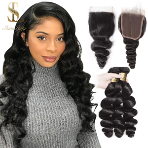 Shinelady Middle Part Closure With Hair Bundles Weave Natural Color Loose Wave Saw In Long Human Hair 4 Bundles With Closure(China)