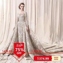 Роскошное кружевное свадебное платье с бусинами и блестками