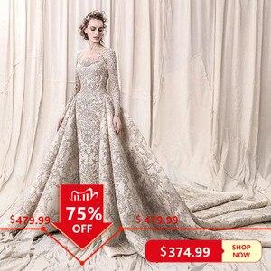Image 1 - Perline di lusso Paillettes Da Sposa In Pizzo Abiti Da Sposa 2020 Romantic UNA Linea A Manica Lunga Da Sposa Abiti Da Sposa Robe De Mariee