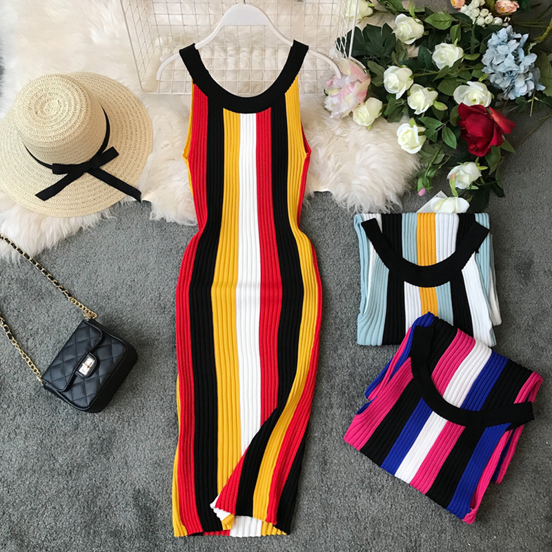 Gagarich 2019 Fashion Stretch Striped Women Dress Sleeveless Knee Length Summer Autumn Chic Knitted Bodycon Ladies Dresses