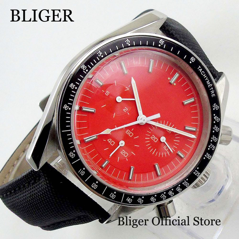 Dress 40mm Red Dial Automatic Men's Watch With Mechanical Wristwatch Movement With Date
