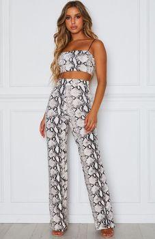 2020 ladies high waist wide leg pants streetwear loose fashion snake print printed wide leg pants ladies loose casual pants