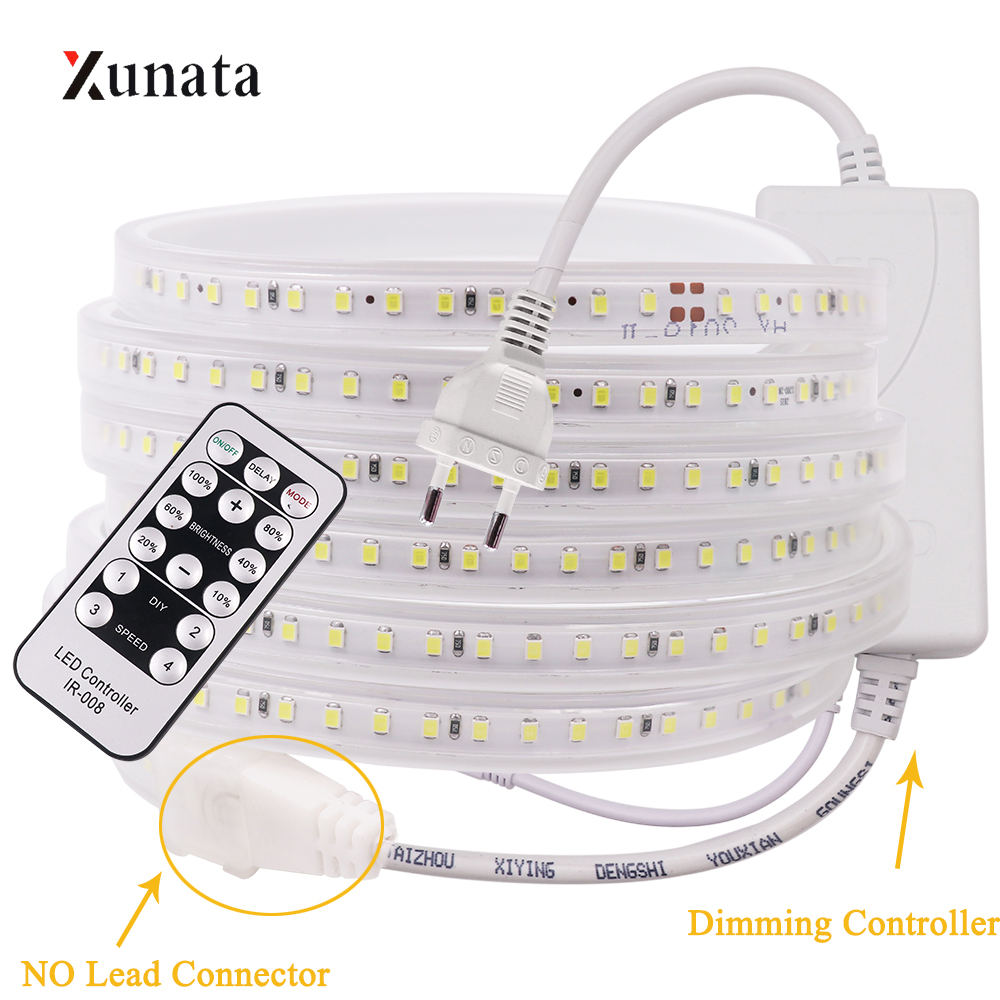 220V LED Strip 120 LEDs/m Light Flexible LED Tape SMD2835 Waterproof LED Ribbon With EU Dimming Plug Switch Plug For Home Decor