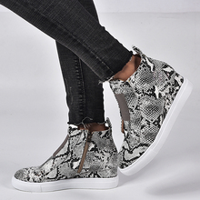 Women PU Leather Elevator Shoes Female Snakeskin Pattern Wedge Flat Shoes Solid