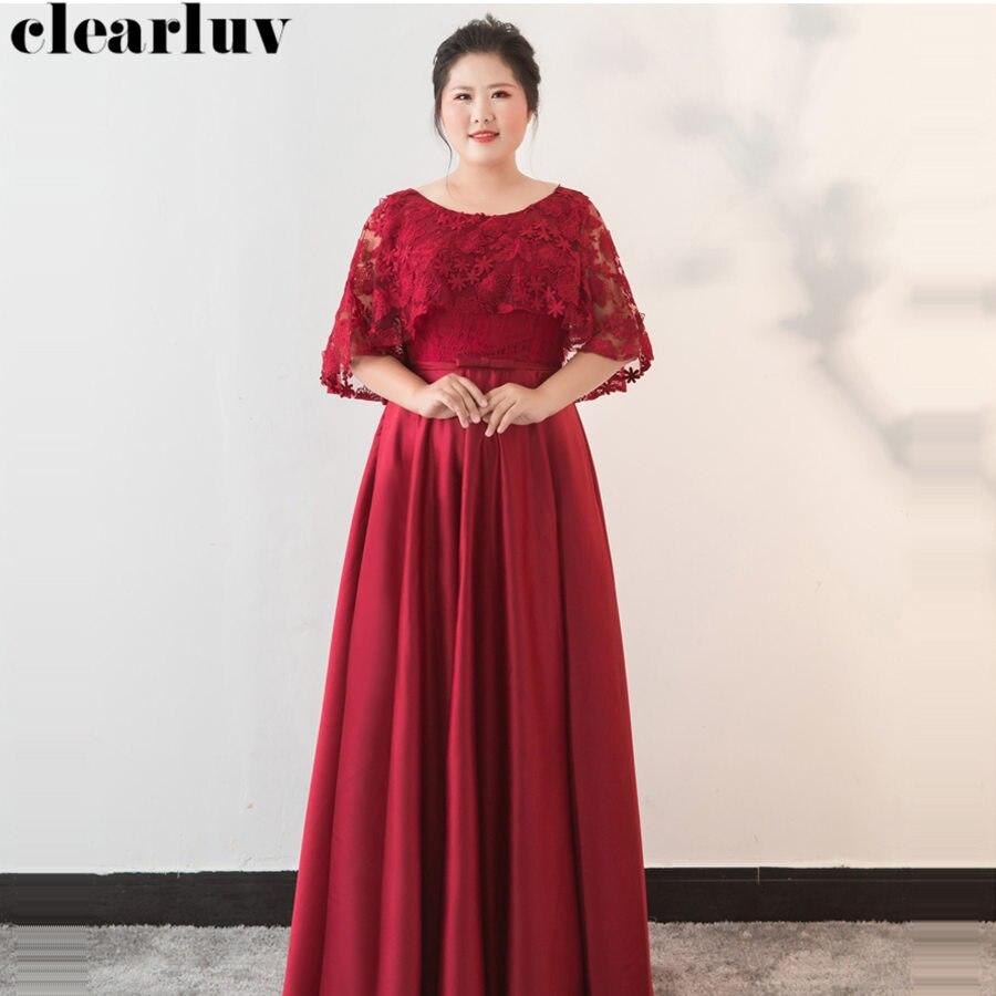Evening Dress Hollow Lace Robe De Soiree Plus Size Elegant Women Party Dresses 2019 O-neck Half Sleeve Formal Evening Gowns T106