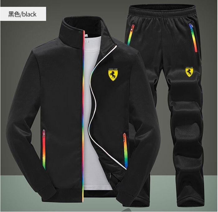 Men Casual Zipper Zip Colors Gym Walk Jogging Sport Tracksuit Coat Jacket Trousers Pants Suit Spring Fall Outfit 2PC