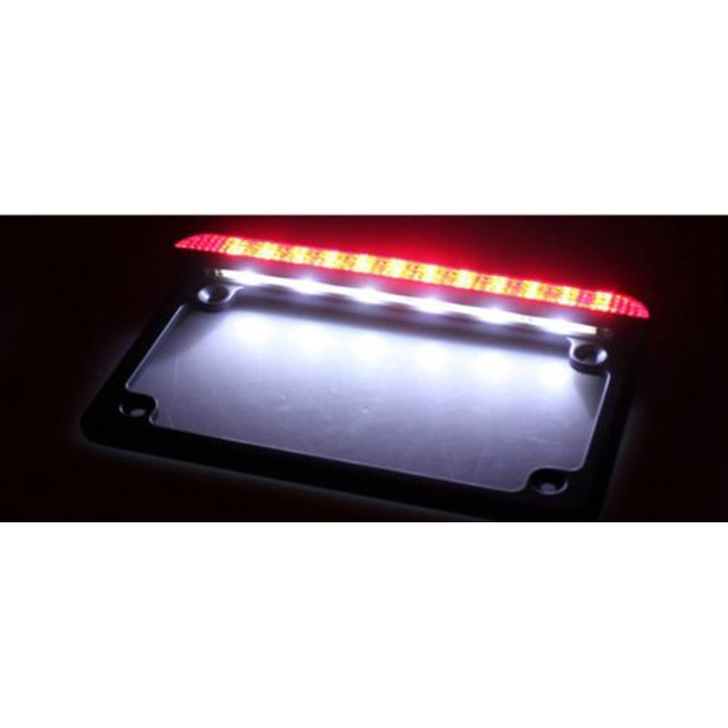 Universal Motorcycle LED Aluminum License Plate Frame /& LED Tail Brake Light