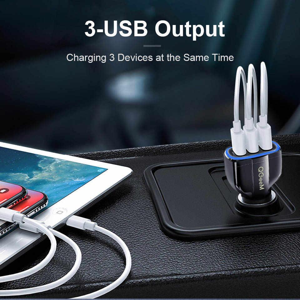 QGEEM QC 3,0 3 USB Auto Ladegerät Schnell Ladung 3,0 3-Ports Schnelle Ladegerät für Auto Telefon Lade Adapter für iPhone Xiaomi Mi 9 Redmi