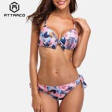 Attraco Women Low Waist Floral Print Bikini Set Tied Front Swimsuit Bandage Swimwear Strappy Beachwear pants flower push up