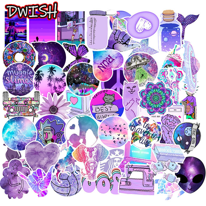 Cartoon Purple Cool Children Waterproof Stickers Skateboard Guitar Suitcase Motorcycle Graffiti Sticker Vsco Girl Kids DIY Toys