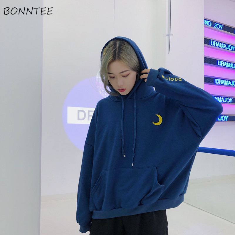 Hoodies Women Elegant Trendy Letter Embroidery Plus Velvet Soft Warm Ulzzang Korean Womens Sweatshirt Daily Loose Student Lovely