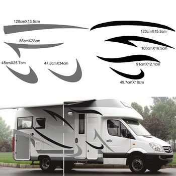 1 Pair RV Sticker (Black+Grey)Vinyl Decal Graphic Auto Stickers for Motorhome Caravan Camper Van