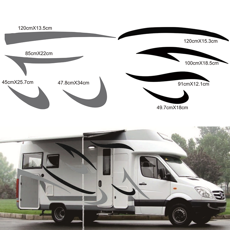 1 Pair RV <font><b>Sticker</b></font> (Black+Grey)Vinyl <font><b>Decal</b></font> Graphic Auto <font><b>Stickers</b></font> for <font><b>Motorhome</b></font> Caravan Camper Van image