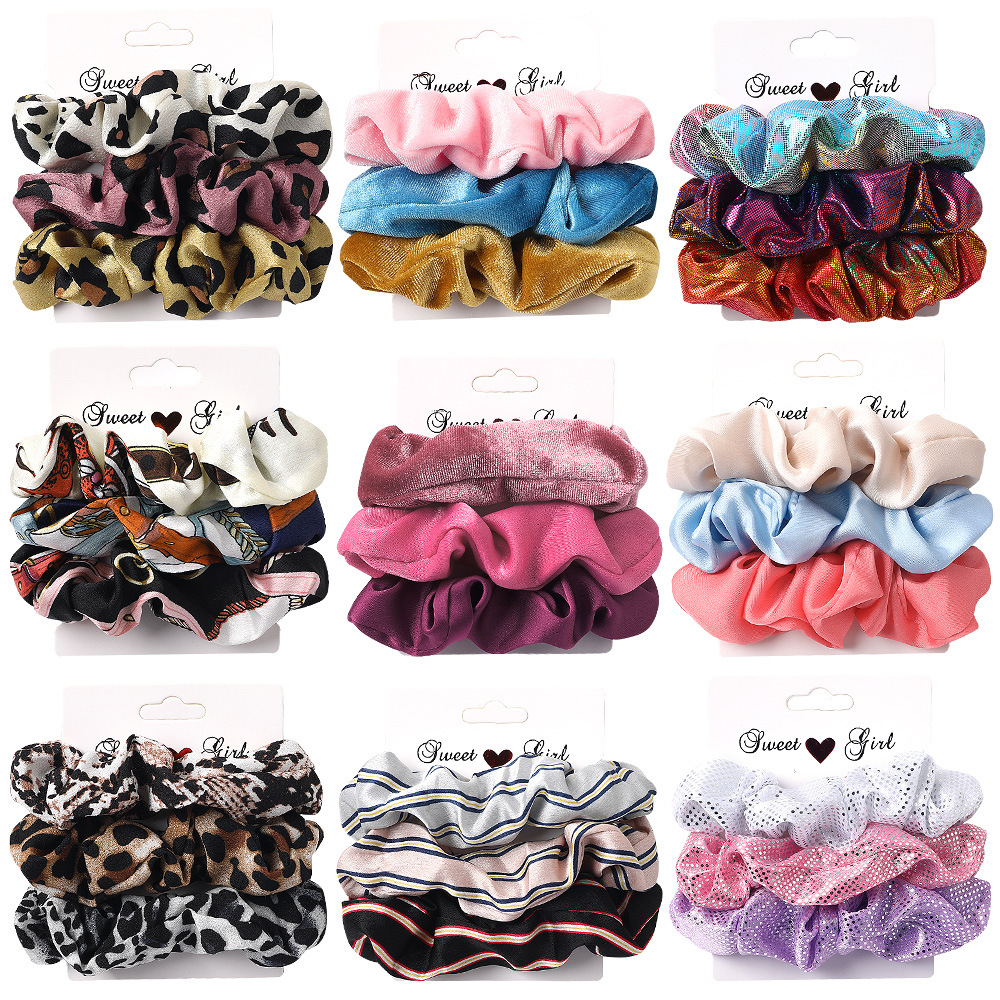 AWAYTR 1 Set Women Scrunchies Elastic Ponytail Holder For Ladies Hairbands Hair Tie Hair Accessories Satin Stretch Hair Bands