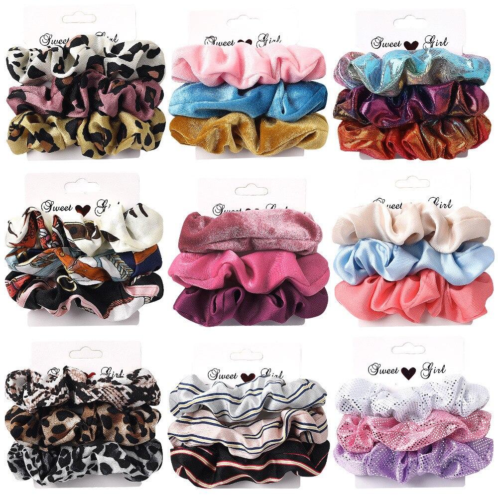 AWAYTR 1 Set Women Scrunchies Elastic Ponytail Holder For Ladies Hairbands Hair Tie Hair Accessories Satin Stretch Hair Bands