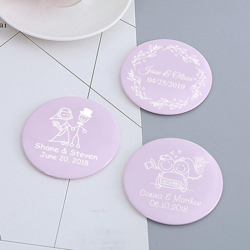 Custom Pocket Handtas Spiegel Gepersonaliseerde Bruiloft Gunst Purse Make Spiegel Bruiloft Souvenir Party Favor Compacte Spiegel 50pcs-in Feest bedankjes van Huis & Tuin op  Groep 2