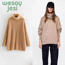 Women Sweater Autumn New pullover sweater Female  solid High collar Casual Knitte Sweaters Oversize wear women