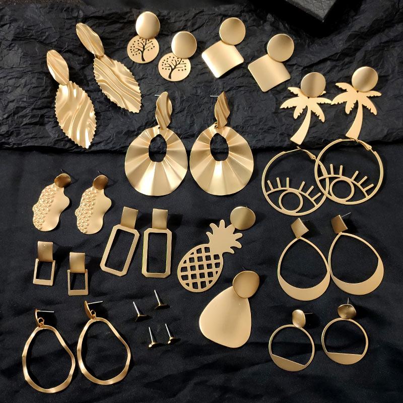 Flatfoosie New Vintage Metal Drop Earrings For Women Gold Color Geometric Hollow Hanging Statement Earrings 2019 Fashion Jewelry