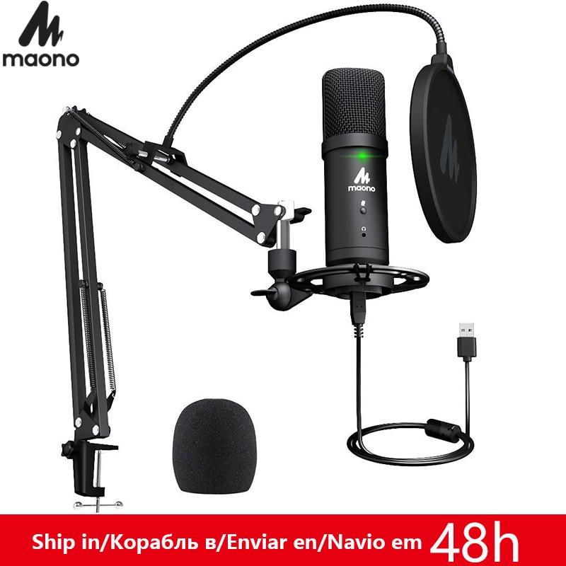 Maono pm401 conjunto de microfone usb 192 khz/24bit microfone condensador cardióide profissional microfone podcast com botão mudo & jack áudio
