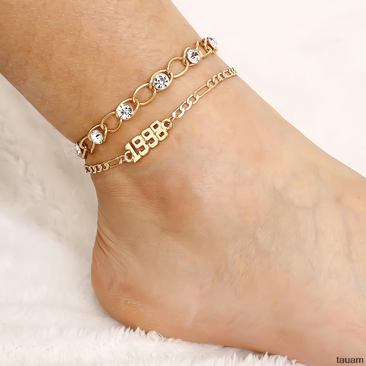 Women's Fashion CZ 1998 Birth Year Ankle Leg Bracelet Jewelry Gold Color Number Anklet Best Friend Gifts