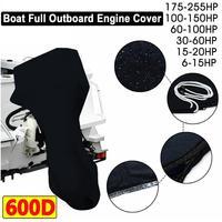 Proteção completa do motor da capa do motor do barco do motor de popa impermeável para 6 225hp ferramentas acessórias ao ar livre preto|Capa p/ barco| |  -