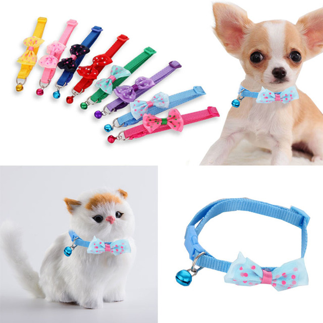 Fashion Cute Kitten 1pc New Adjustable Bowknot Nylon Dog Cat Pet Collar Bow Tie Bell Puppy Candy Color Necktie 2