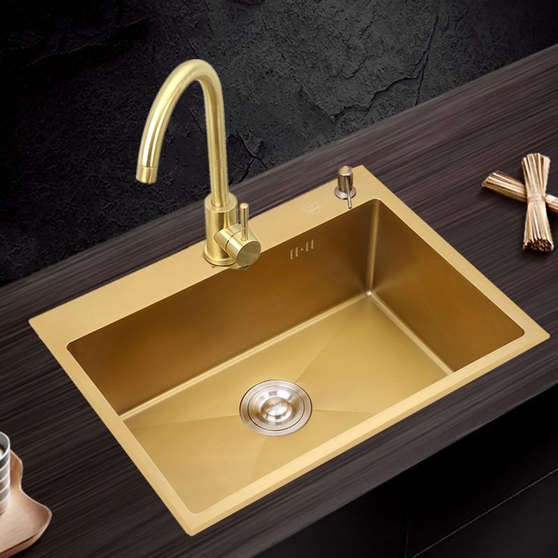 Gold Kitchen Sink Thickened 304 Stainless Steel Nano Antibacterial Single Tank Gold Kitchen Hand Wash Sink Gold Drain Faucet