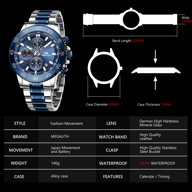 Image 4 - MEGALITH Watches Mens Waterproof Analogue Clock Fashion Stainless Steel Waterproof Luminous Watch Men Sports Relogio Masculino-in Quartz Watches from Watches