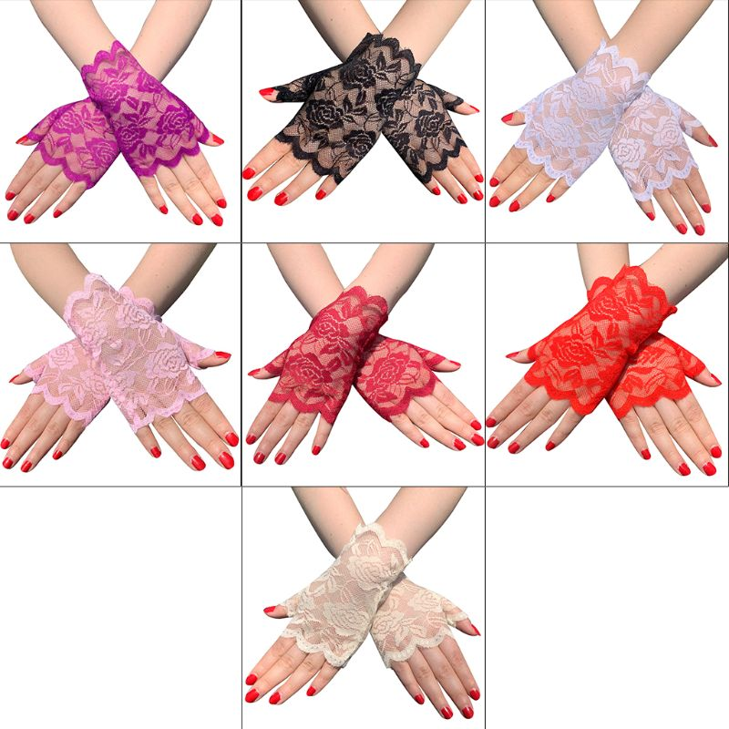 Women Summer Hollow Out Floral Lace Fingerless Gloves UV Sun Protection Driving Short Half Finger Mittens Scar Cover Up
