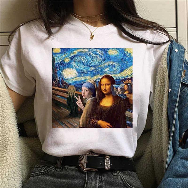 Mona lisa t-shirt femmes femme streetwear chien coréen harajuku drôle t-shirt graphique ulzzang grunge t-shirt femme décontracté hip hop