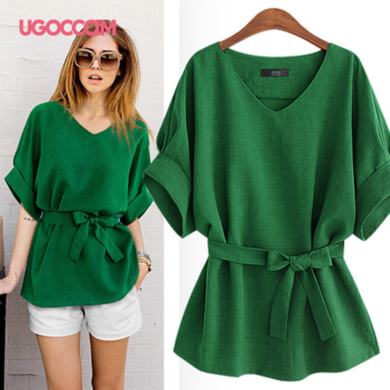 UGOCCAM Women T-shirt Half Sleeve Sexy V-Neck Shirt Drawstring Solid Color Casual Tee Plus Size Tshirt Loose Top Women Clothes