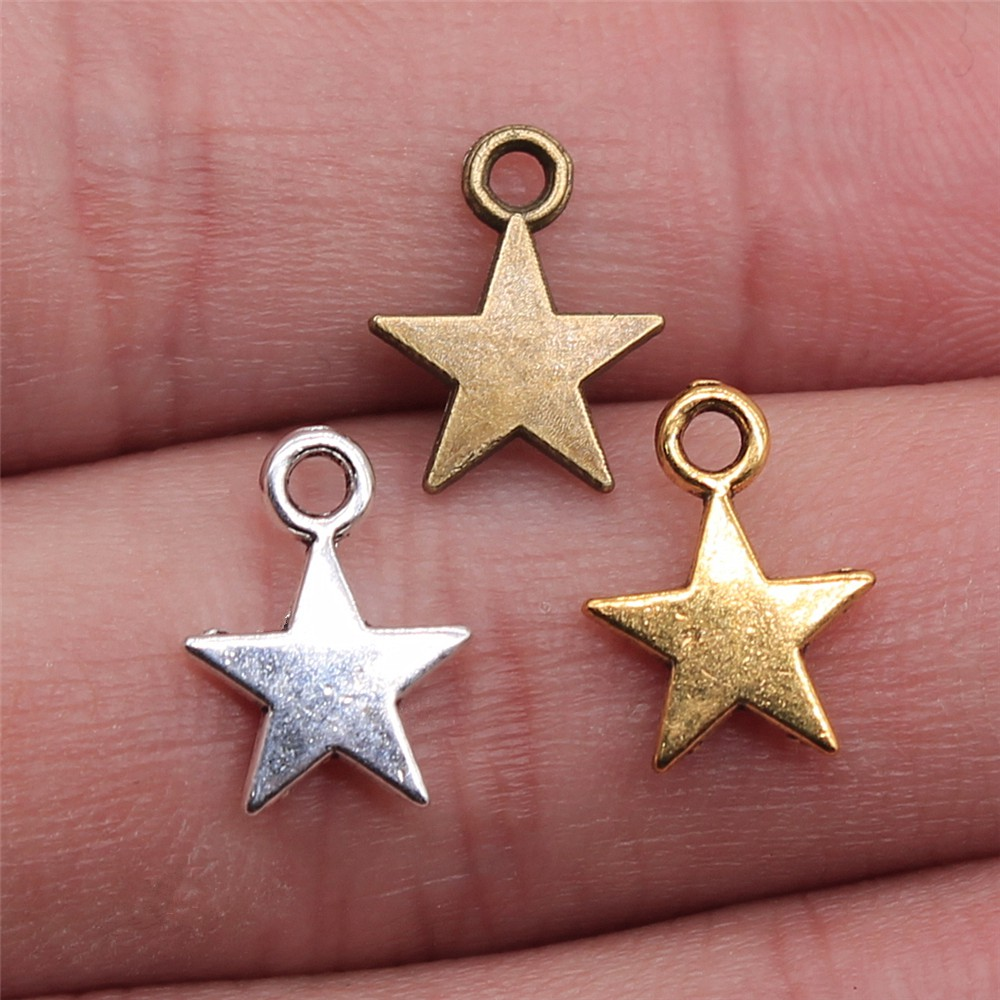 40pcs 11x8mm 3 Colors Antique Gold Antique Bronze Tiny Star Charm Star Pendant lot For Jewelry Making