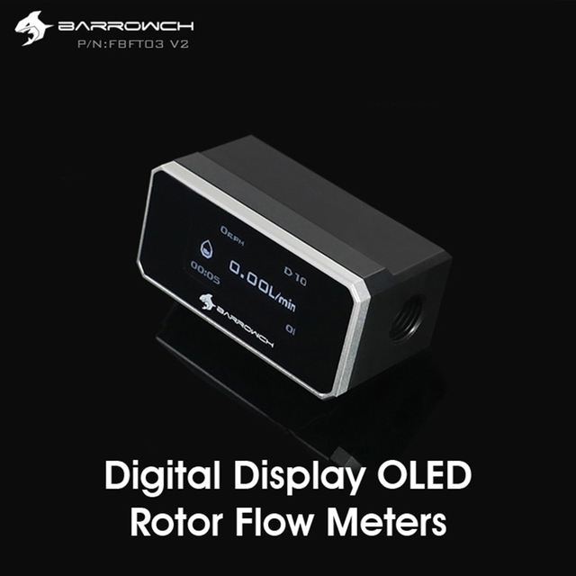 Barrowch FBFT03 V2, Digital Display OLED Rotor Flow Meters, Multiple Colour Aluminum Alloy Panel + POM Body, Real time detection
