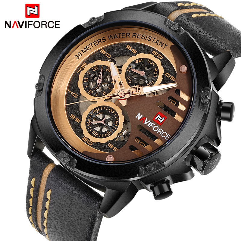 NAVIFORCE Luxury Brand Men's Quartz Sports Watches Man Leather Hollow Face 24 Hour Date Clock Men Fashion Waterproof Wrist Watch