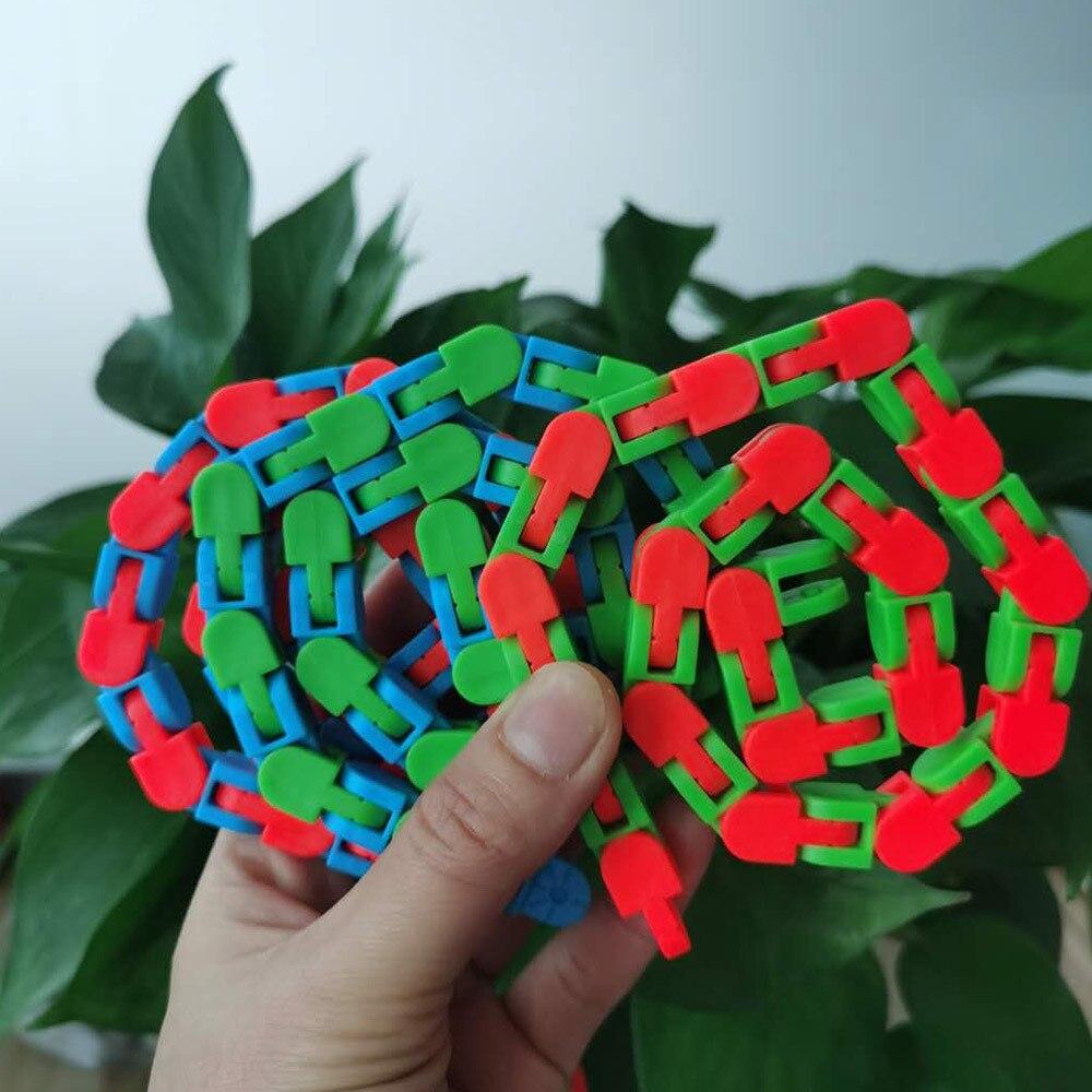 Sensory Toy Puzzles Decompression-Toys Fidget Autism Wacky Tracks Click Snake And 24-Links img4